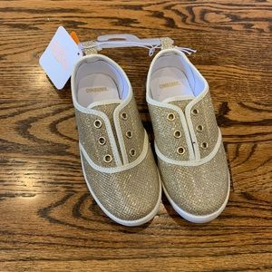 New GYMBOREE Gold Sparkle Slip On Sneakers 11